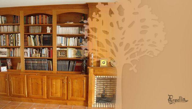 Bibliothèque cheminée en Merisier