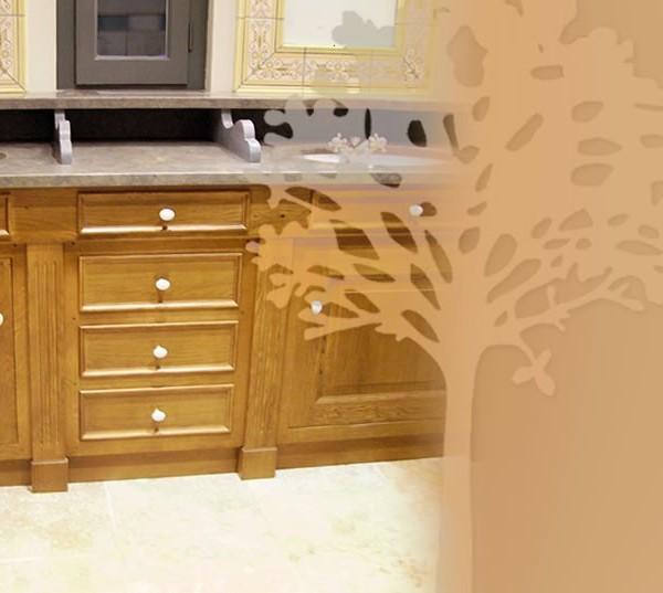Salle de Bains en Chêne - détail des vasques