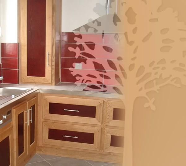 cuisine chêne et teinte acajou - fabrication meuble en bois ... - Facade Meuble Cuisine Sur Mesure