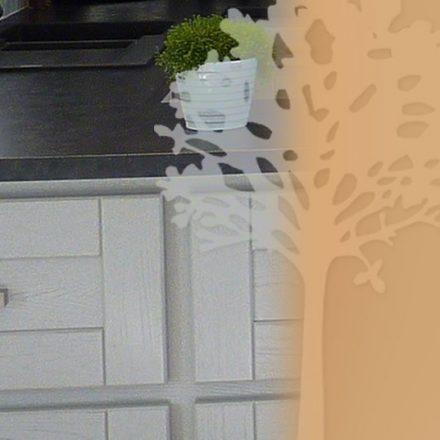 Cuisine Châtaignier laqué gris - Détail des facades de tiroirs