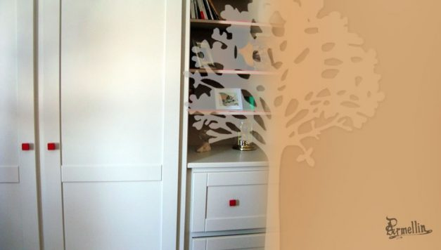 Chambre Tremble massif - Laqué de couleur clair